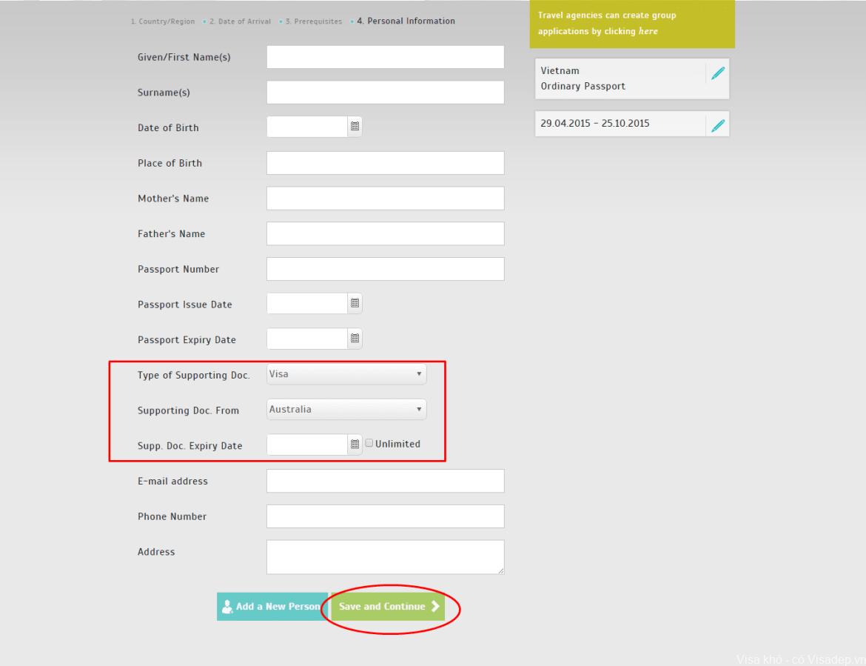 hồ sơ đăng kí E-visa Thổ Nhĩ Kỳ