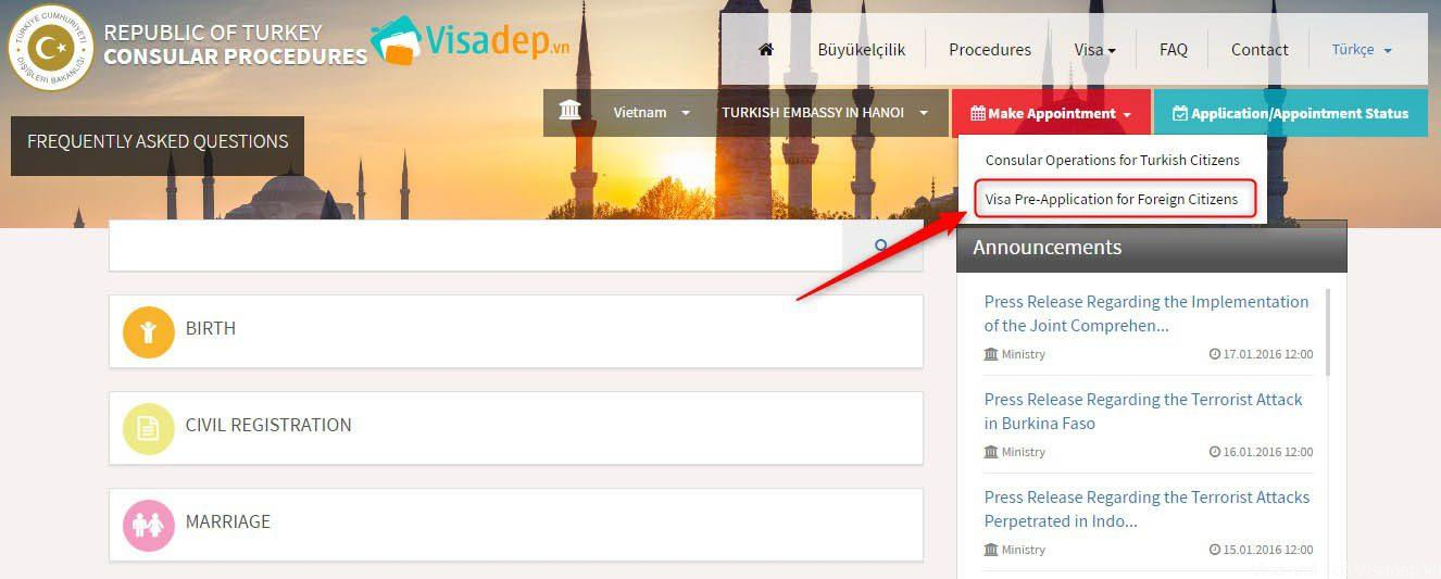 điền đơn xin visa Thổ Nhĩ Kỳ online dễ dàng