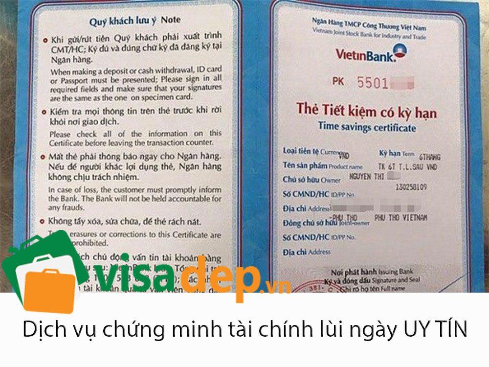 Chứng minh tài chính lùi ngày xin visa, sổ tiết kiệm lùi ngày
