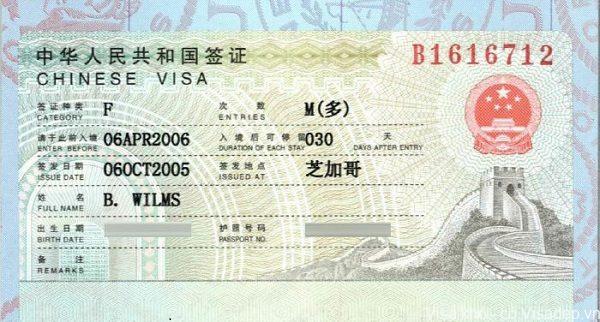 Visa trung quốc diện F là gì
